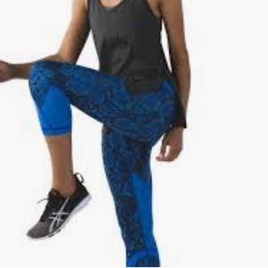 Lululemon Inspire Crop II in Minz/PDBL-Blue